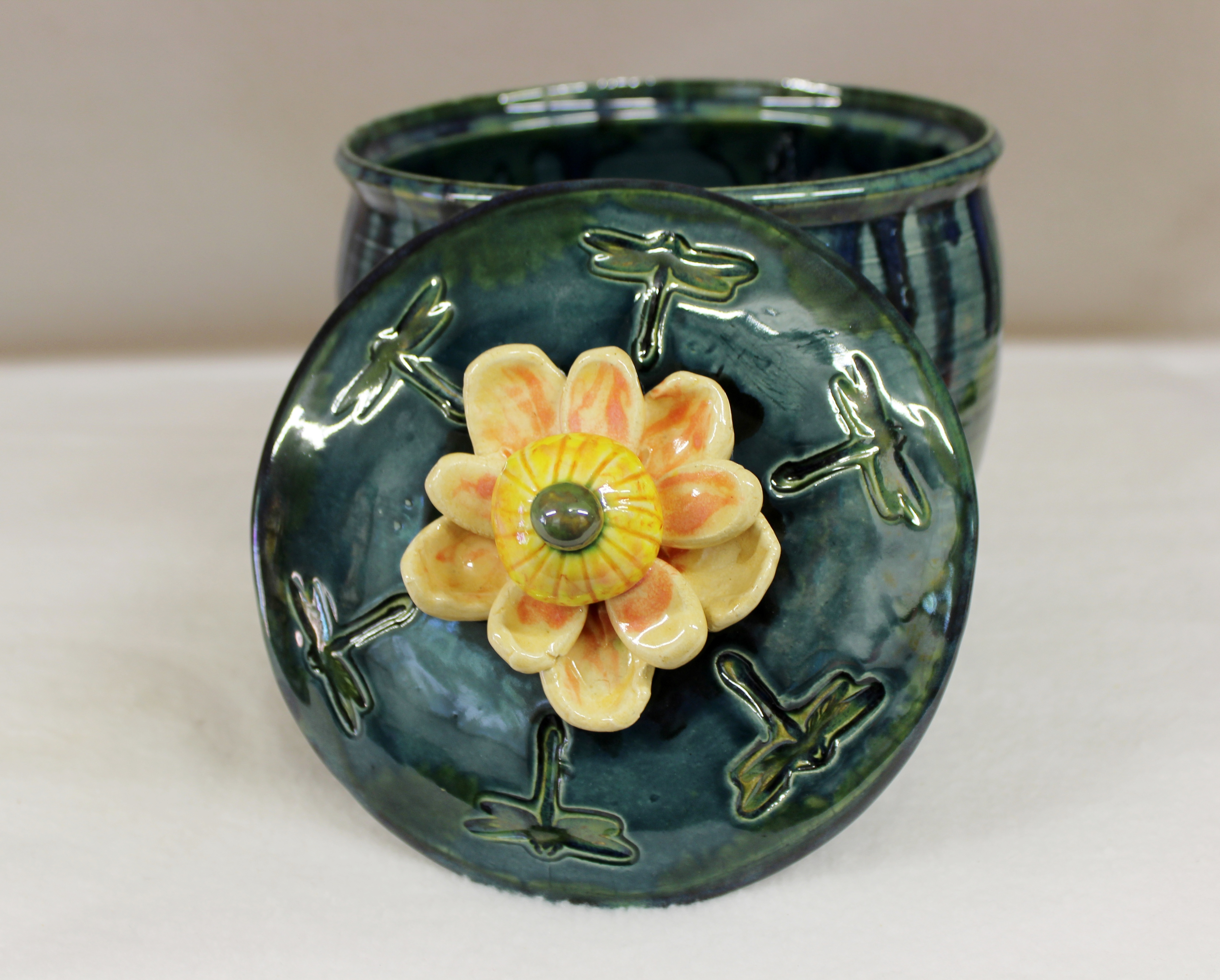 Lotus Blossom And Dragonfly Cookie Jar In Wild Blue Forest Glaze